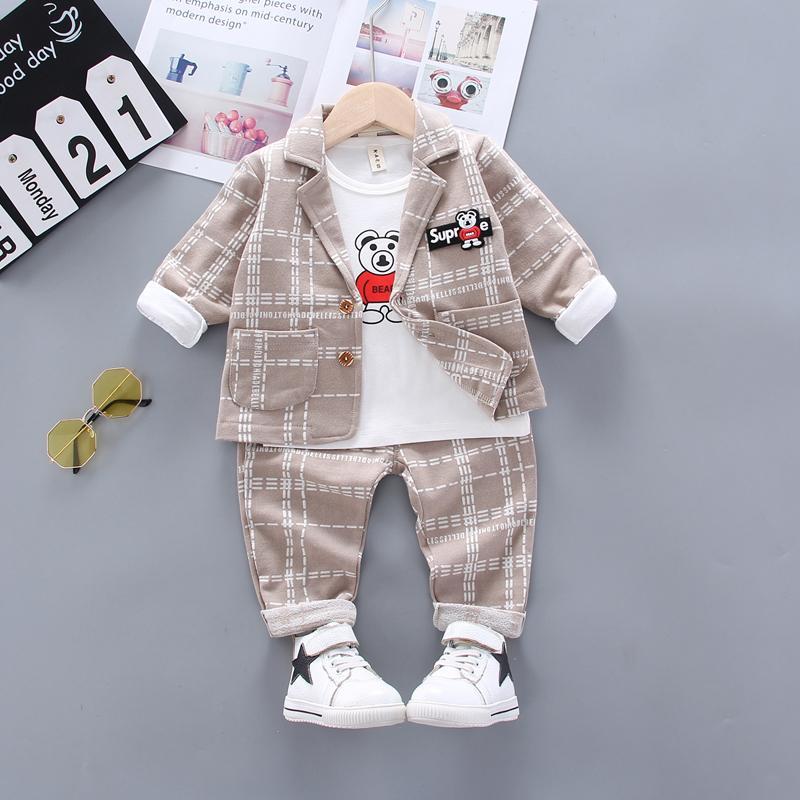 3-piece Plaid Coat & Sweatshirt & Plaid Pants for Toddler Boy
