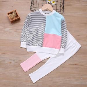 2-piece Color-block Sweatshirts & Pants for Toddler Girl