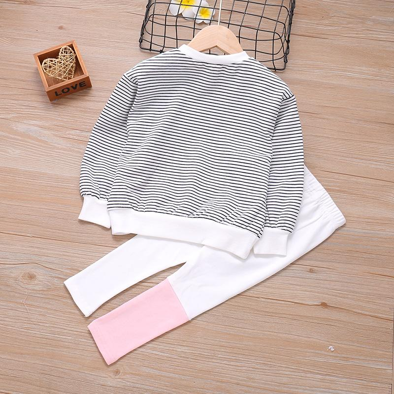 2-piece Color-block Sweatshirts & Pants for Toddler Girl
