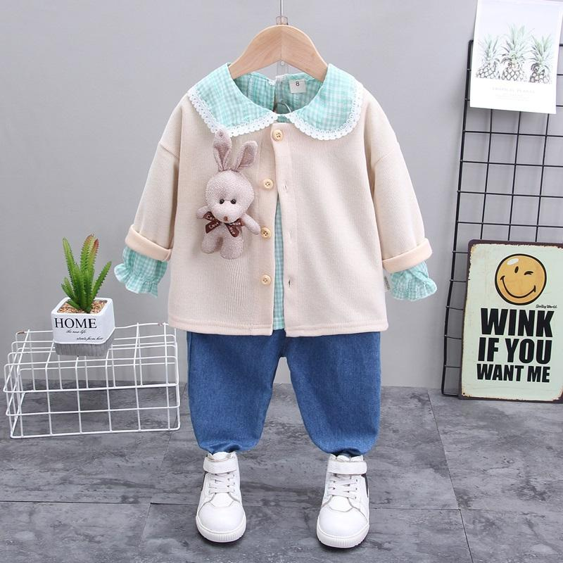 3-piece Bear Toy Coat & Shirt & Pants for Toddler Girl