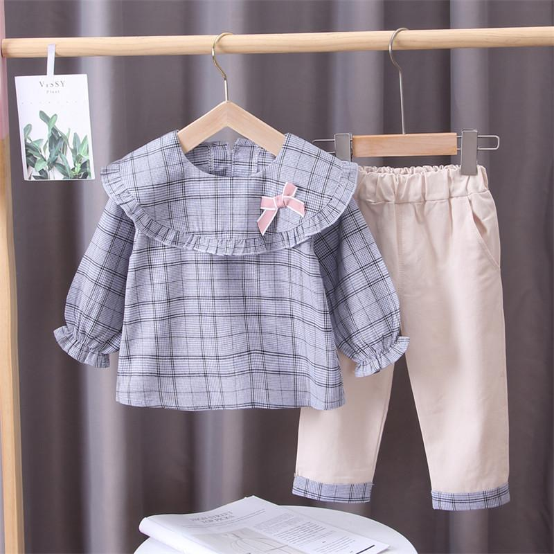 2-piece Plaid Shirts & Pants for Toddler Girl