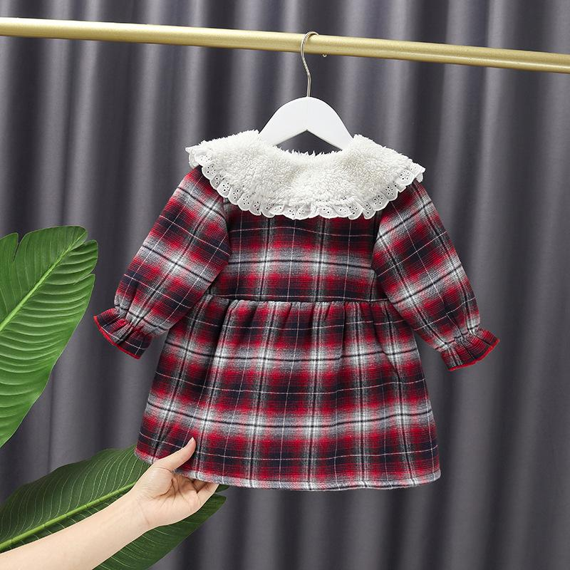 Plaid Fleece-lined Dress for Toddler Girl