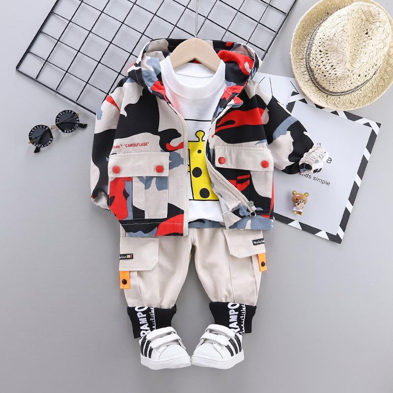 3-piece Camouflage Coat & Sweatshirt & Pants for Toddler Boy
