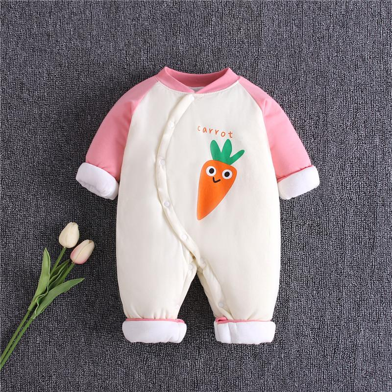 Carrot Pattern Extra Thick Jumpsuit for Baby Girl