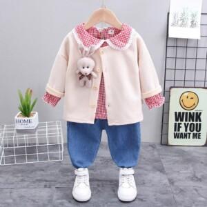 3-piece Bear Toy Coat & Shirt & Pants for Toddler Girl