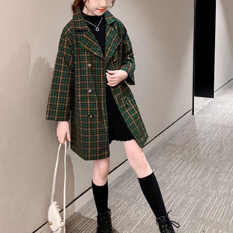 Plaid Duffle Coat for Girl