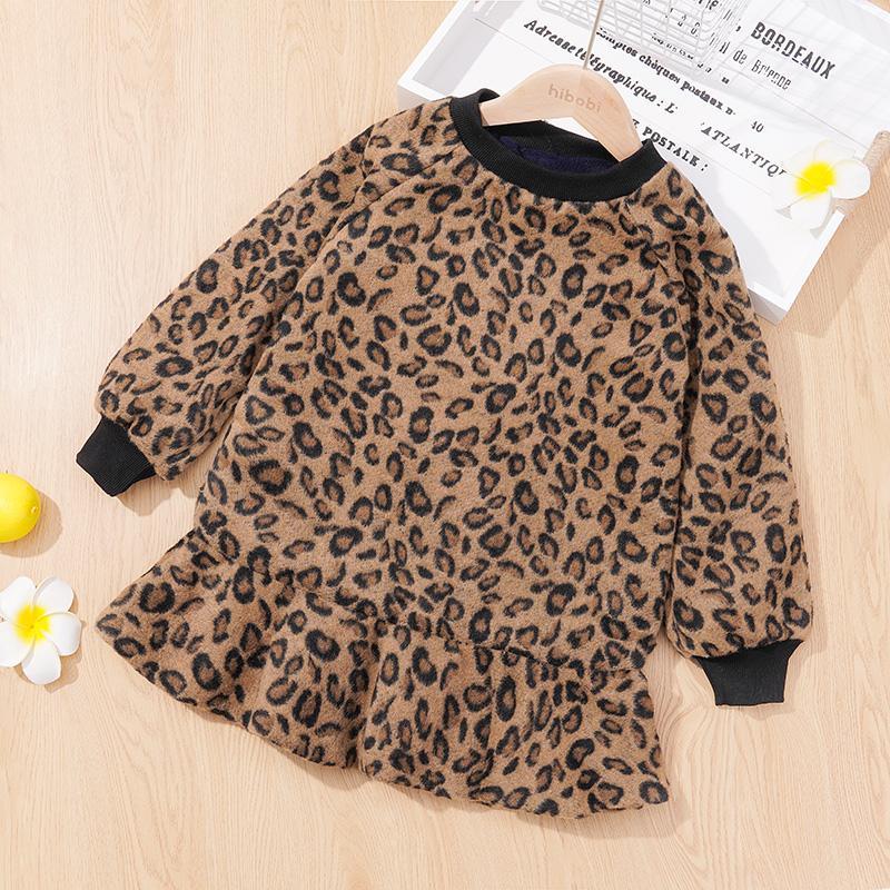 Leopard Fleece-lined Dress for Toddler Girl