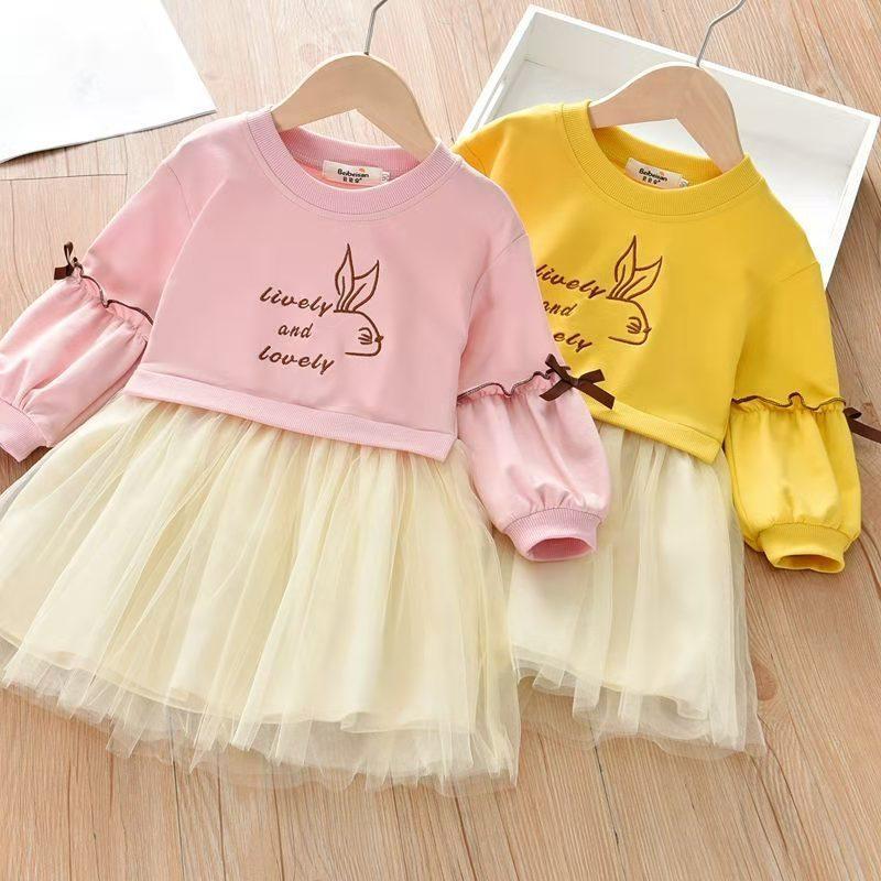 Rabbit Pattern Dress for Toddler Girl