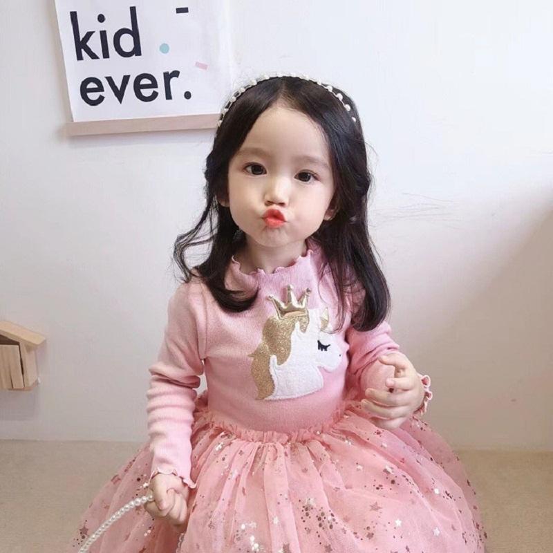 Cartoon Long-sleeved Star Pattern Mesh Dress for Toddler Girl