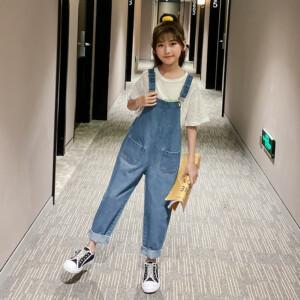Kid girl fashion denim rompers one piece