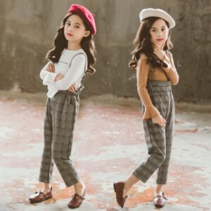 Kid girls fashion plaid rompers two-piece