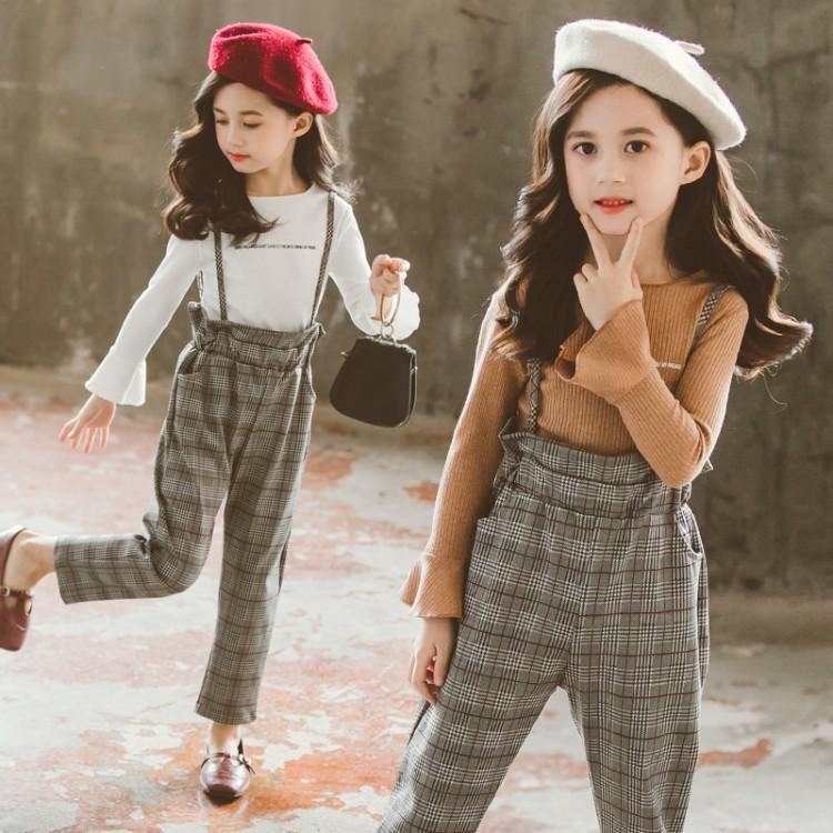 Kid girls fashion plaid rompers two-piece