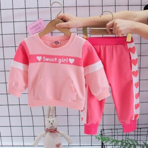2pcs Toddler Girl Clothes Set Heart-shaped  Printing Sweatshirt & Pants