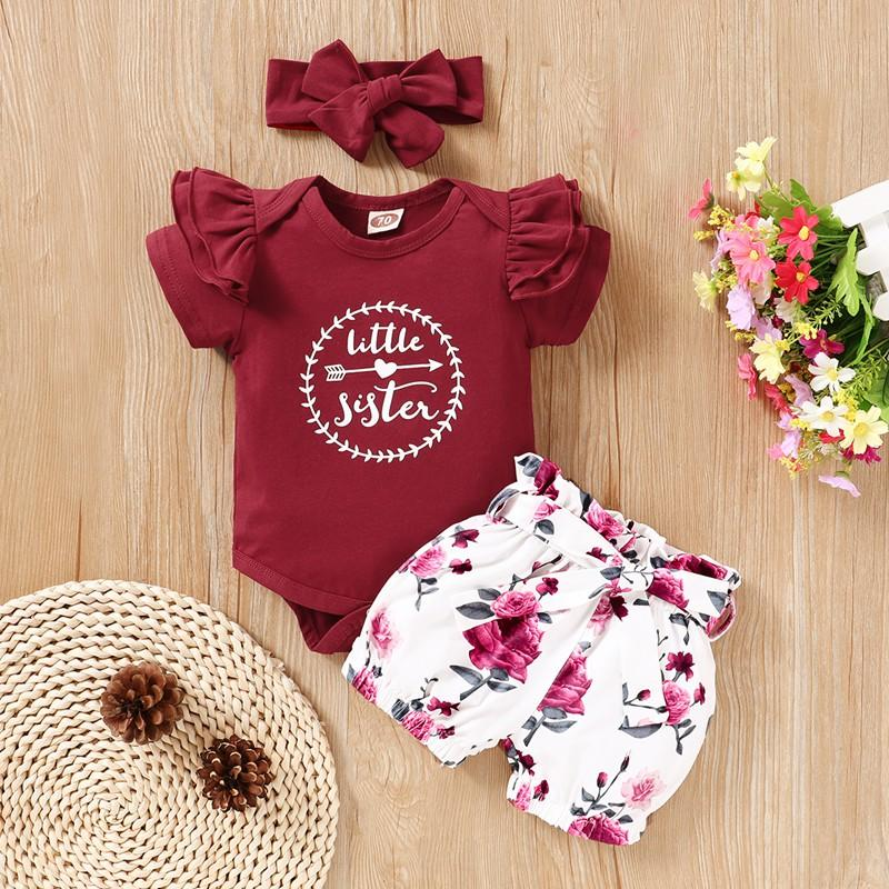 3-piece Floral Bodysuit, Floral Shorts with Headband for Baby Girl