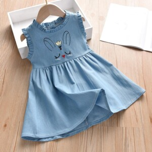Rabbit Pattern Denim Dress for Toddler Girl