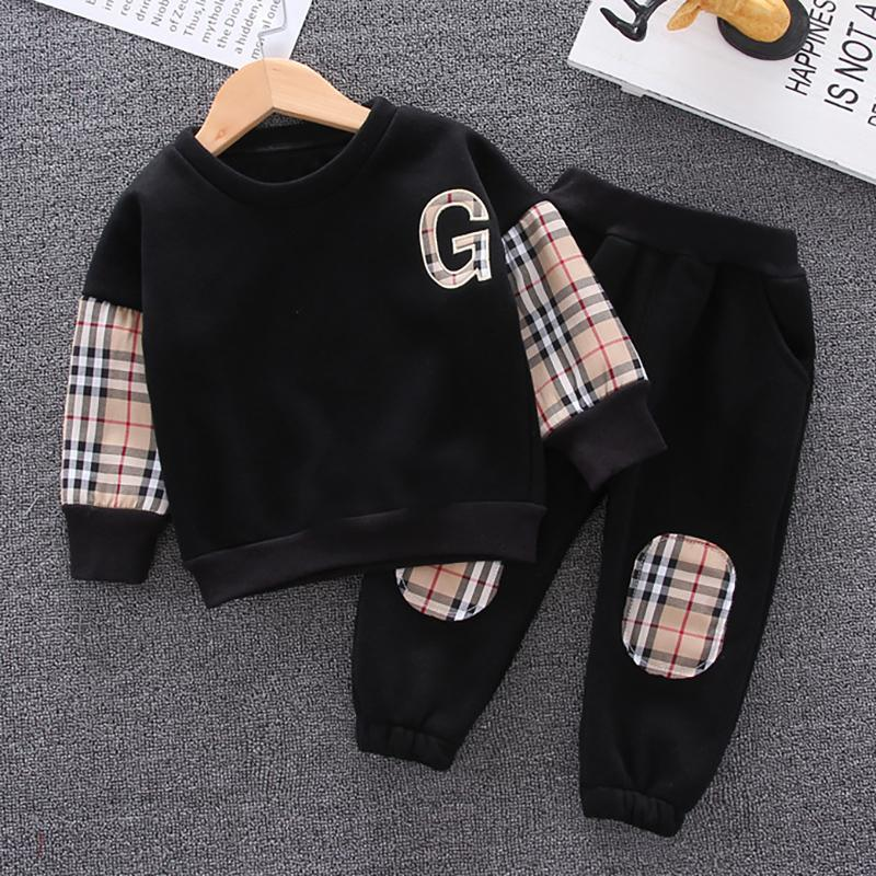 2-piece Casual Plaid Color-block Pullover & Pants for Toddler Boy