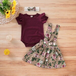3-piece Burgundy Ruffle Bodysuit, Suspender Skirt and Headband Set