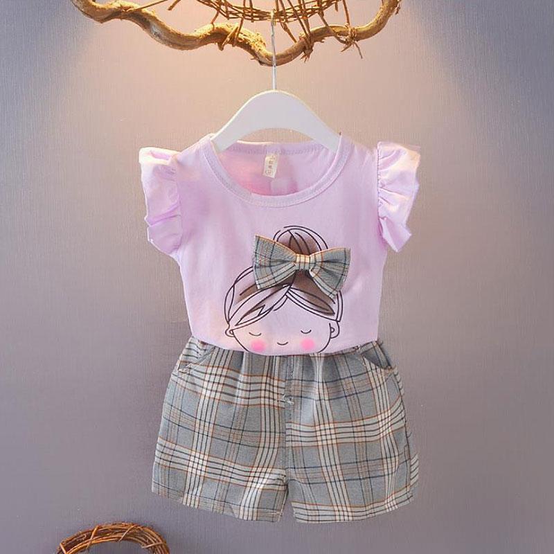 2pcs Sweet Plaid Little Girl Print T-shirt and Pants