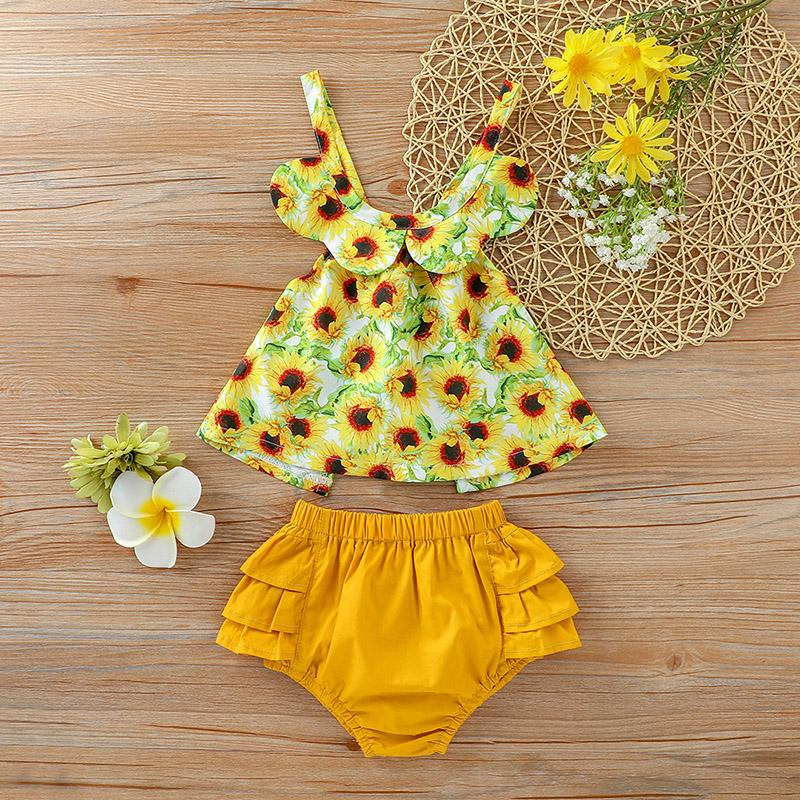 2-piece Floral Printed Tops & Shorts for Baby Girl