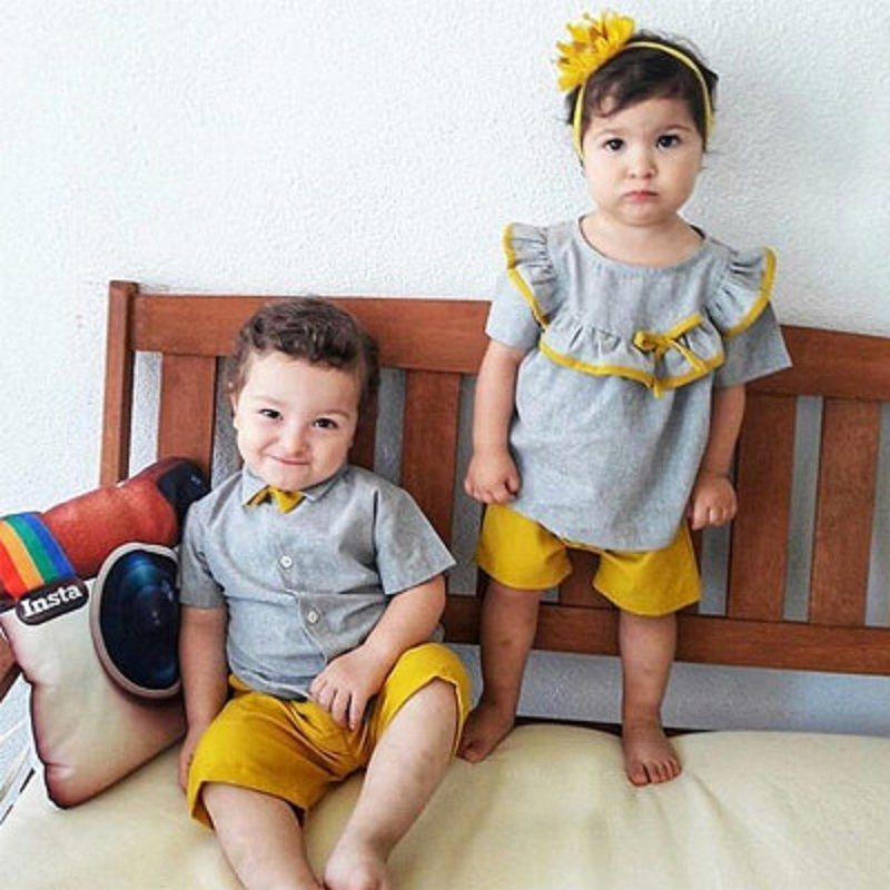 Preppy Style Short-sleeve T-shirt with Bowknot and Pants Set