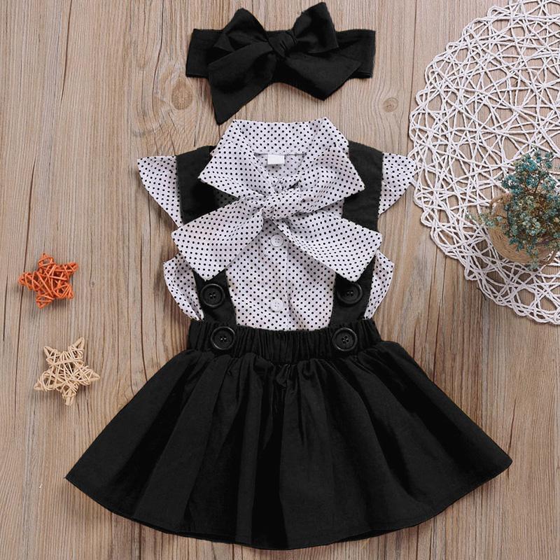 2-piece Polka Dot Dress & Headband for Toddler Girl