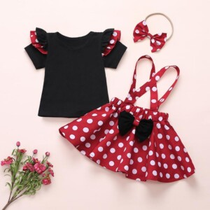 3-piece Solid Ruffle T-shirt & Polka Dot Dress & Headband for Toddler Girl