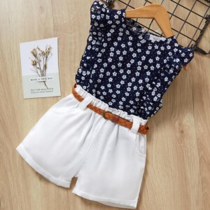 2-piece Floral Sleeveless Polka Dot Printed T-Shirt and Shorts Set