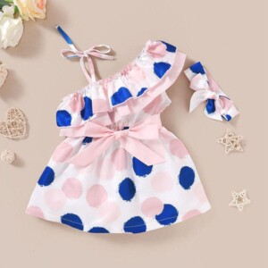 2-piece Polka Dot Dress & Headband for Toddler Girl