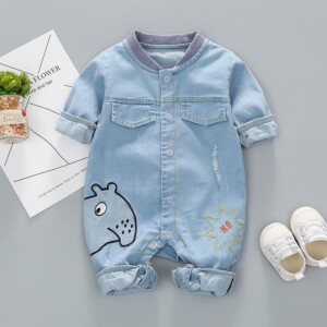 Long-Sleeve Animal Embroidered Denim Jumpsuit
