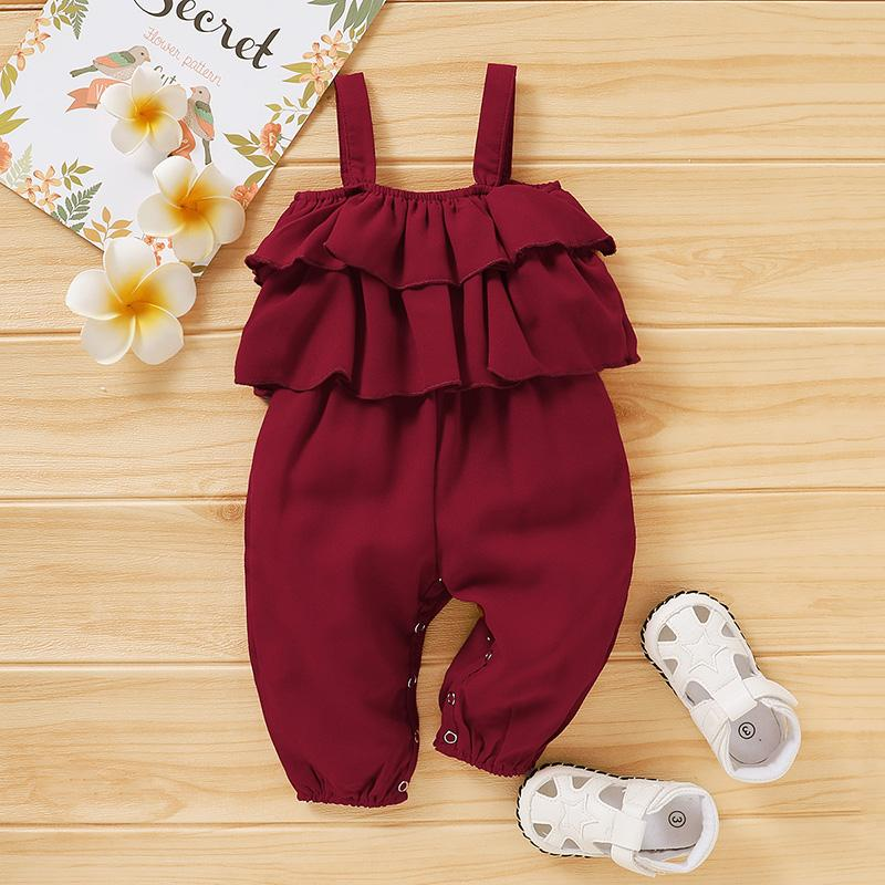 Sling Solid Overalls for Baby Girl