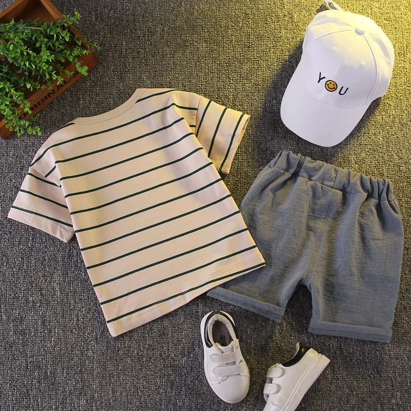 2-piece Stripes Printing T-shirt & Shorts for Toddler Boy