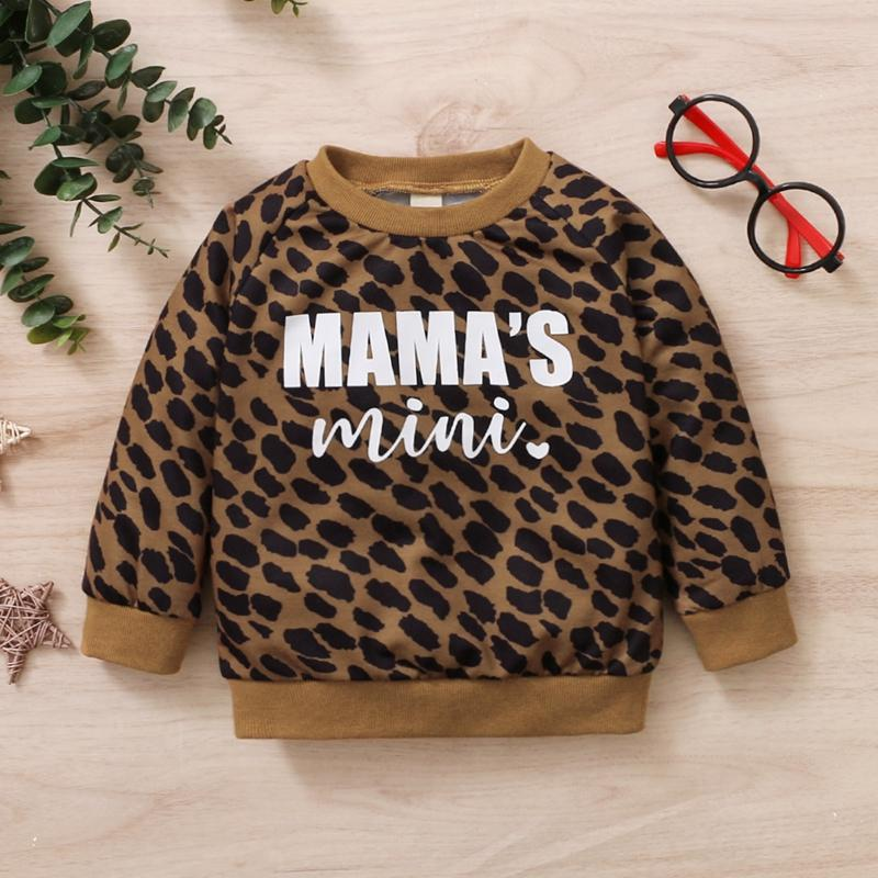 Leopard Letter Pattern Long sleeve T-shirt for Baby