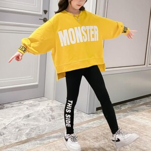 Girl Clothes Outfit Letter Pattern Sweatshirt & Pants
