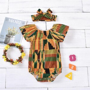 2-piece Geometric Pattern Bodysuit & Headband for Baby Girl