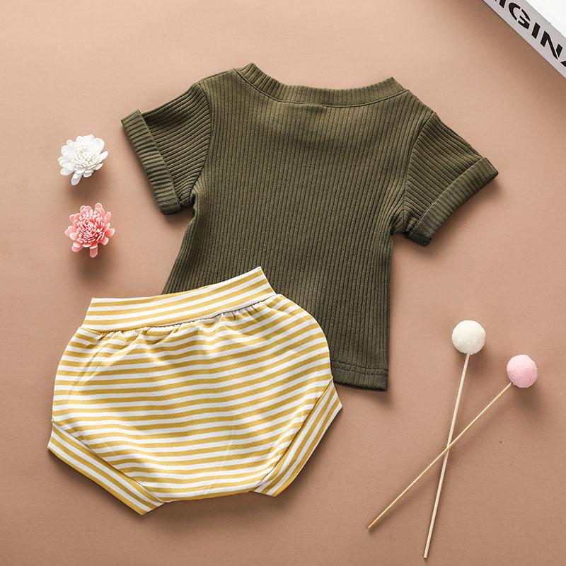 2-piece Solid Knit T-shirt & Striped Shorts for Baby