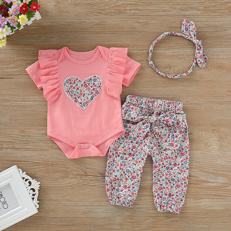 Loveheart T-shirts and Floral Pants For Baby