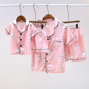 Satin Fabrics Silk-like Rabbit Printed Pajamas Mother Baby Clothes