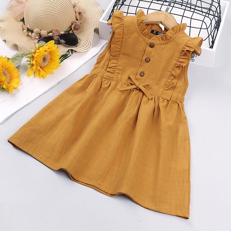Toddler Girl Summer Sleeveless Ruffle Dress