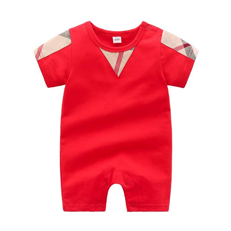 Soft High-quality Classic Plaid Solid Short-sleeve Bodysuit