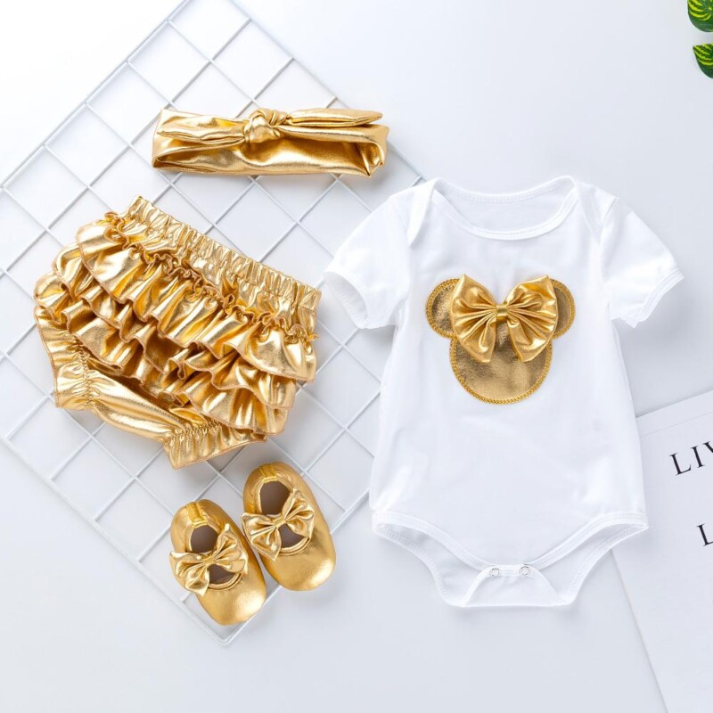4-Piece Romper, Gold PP Shorts and Shoes with Headband