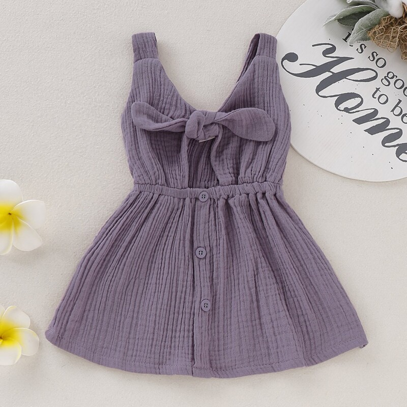 Cozy Solid Self-tie Bow Decor in Back Slip Dress for