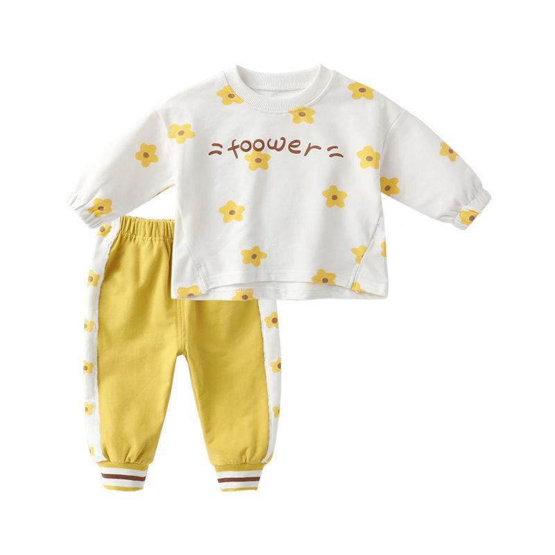 2pcs Toddler Girl Floral Pattern Sweatshirt & Pants