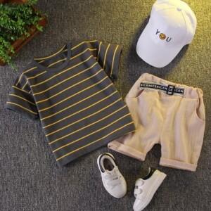 2-piece Stripes Printing T-shirt & Shorts for Toddler Boy