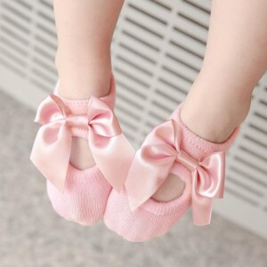 3-piece Cotton Bowknot Decor Antiskid Baby Socks