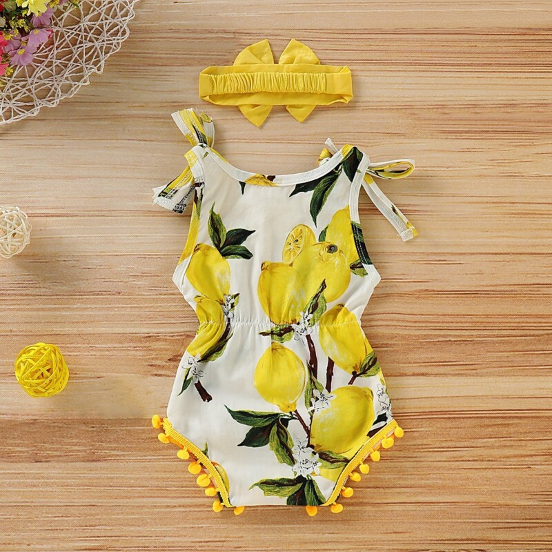 Baby Girl Lemon Allover Sleeveless Romper and Headband