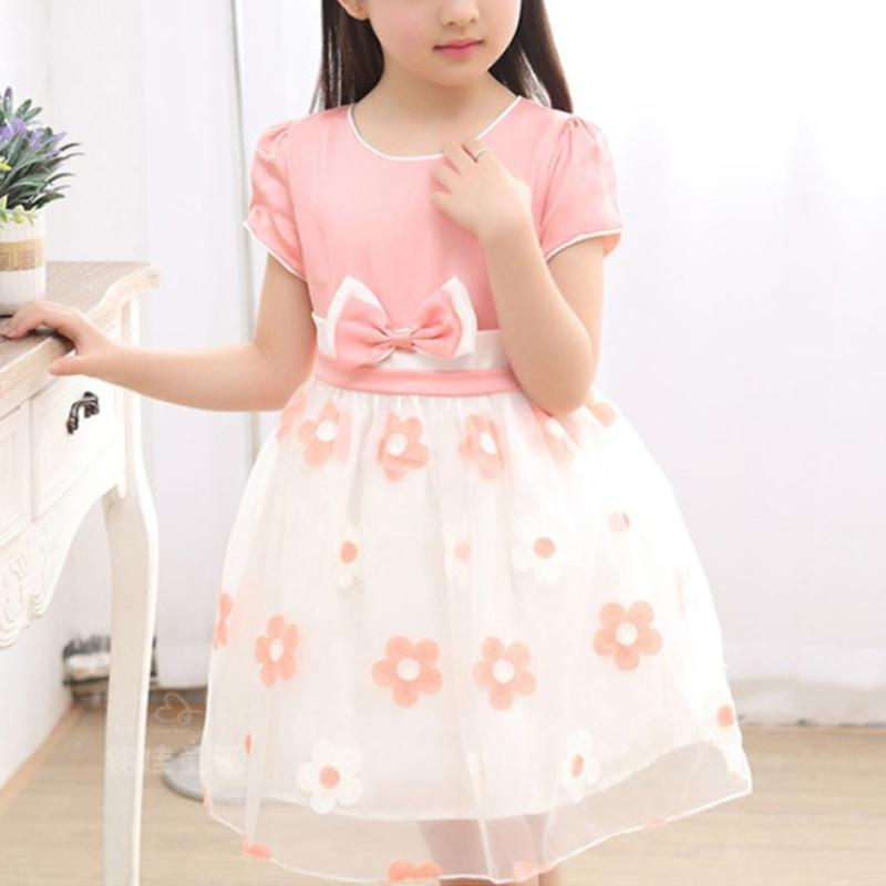 Bow Decor Floral Printed Tulle Dress for Girl