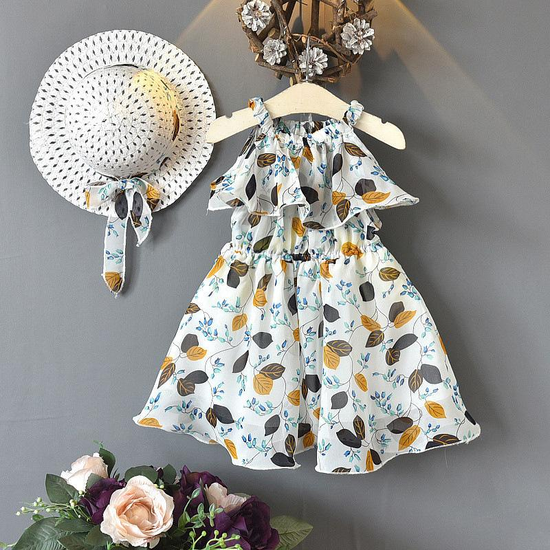 2-piece Floral Printed Dress & Sun Hat for Toddler Girl