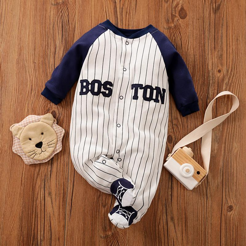 Casual Striped Sports Long-Sleeve Jumpsuit for Baby
