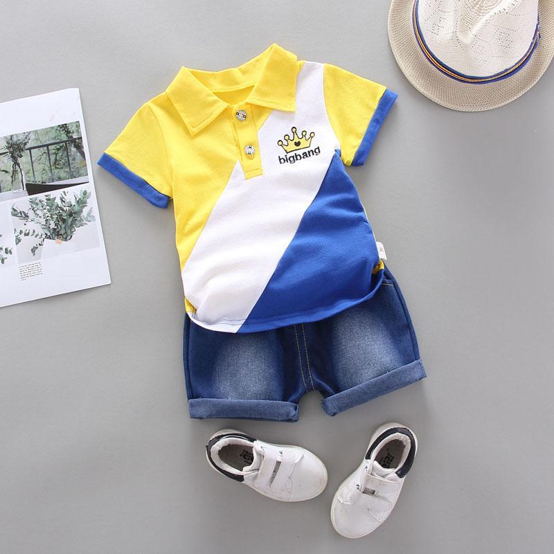 2-piece Color-block Polo Shirt & Short Jeans for Toddler Boy
