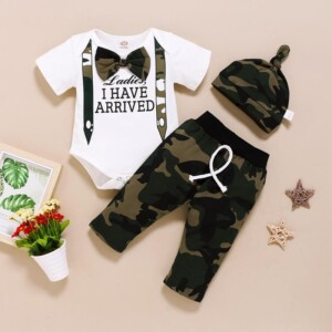 3-piece Letter Pattern Bodysuit & Pants & Hat for Baby Boy